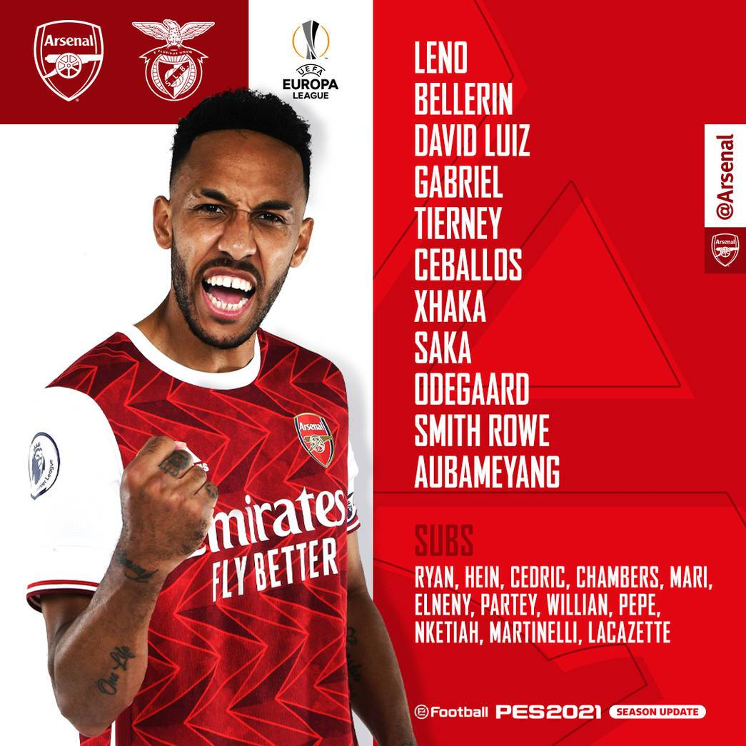 Arsenal team to face Benfica in Athens