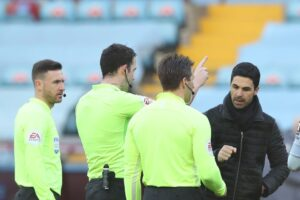 Mikel Arteta was fuming with the officials during Arsenal's 1-0 defeat to Aston Villa.
