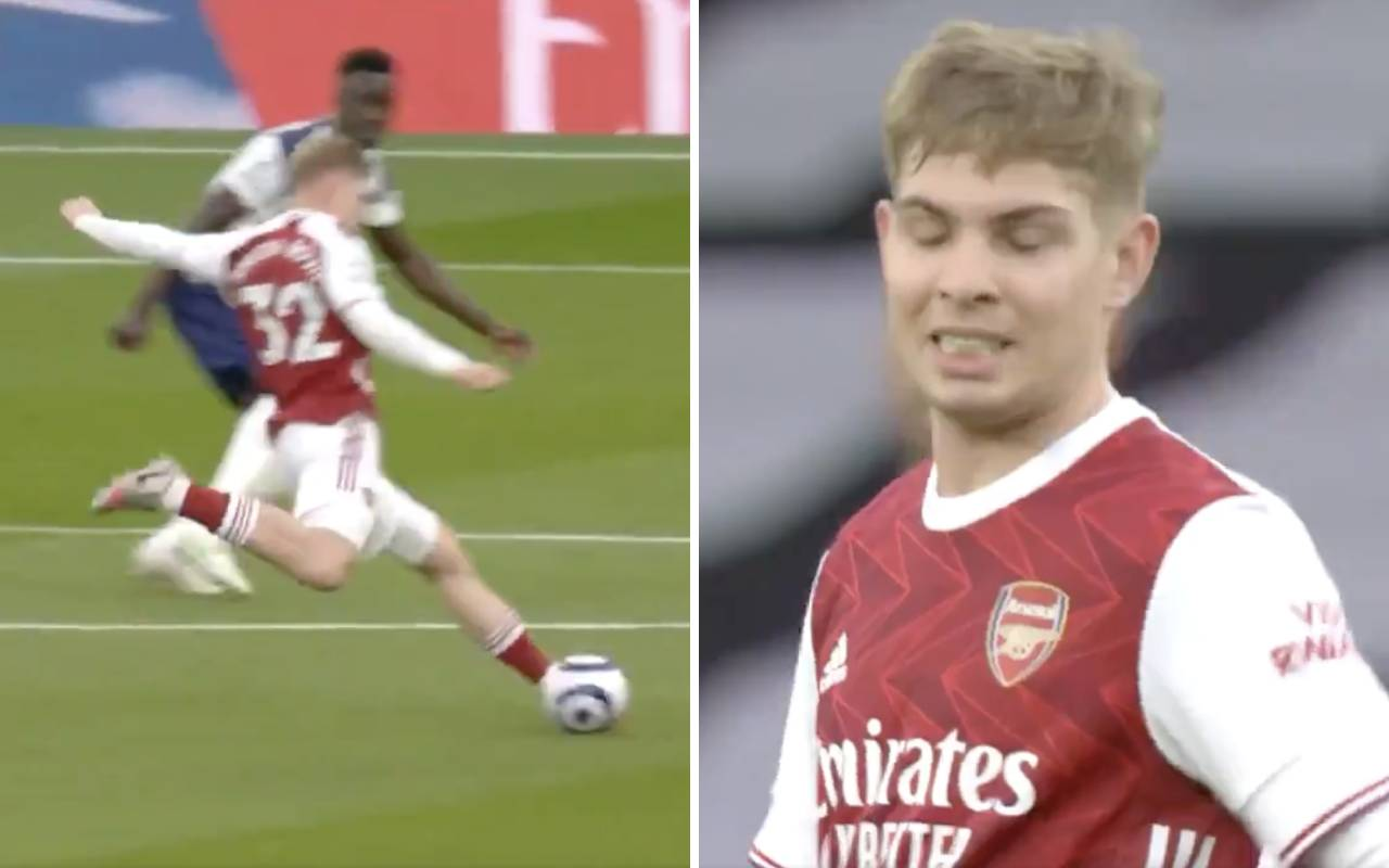 Video: Emile Smith Rowe rattles crossbar with thumping strike as Arsenal youngster is denied memorable derby goal