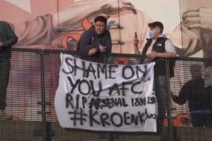 Arsenal fans descend on the Emirates demanding the exit of Stan Kroenke due to ESL involvement