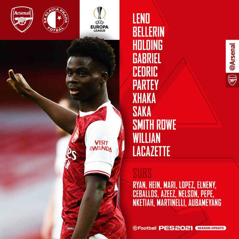 Arsenal v Slavia Prague Confirmed line-ups, Aubameyang is dropped to the bench with Lacazette leading the line