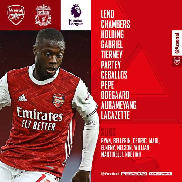 Arsenal v Liverpool Confirmed Line-ups, Arsenal team to take on Liverpool with Laca returning to the XI